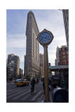 Flat Iron Building, New York with Clock (Landmark Architecture) Photographic Print by Henri Silberman