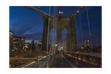 On Brooklyn Bridge Night 4 (Walkway, Arches, Lower Manhattan) Photographic Print by Henri Silberman