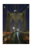 On Brooklyn Bridge Night 5 (Walkway, Arches, Lower Manhattan) Photographic Print by Henri Silberman