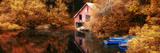 Panorama Landscape Stunning Vibrant Autumn Scene Boat Lake and Boathouse Photo by  Veneratio