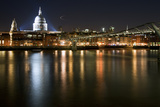 Long Exposure of St Paul's Cathedral in London at Night with Reflections in River Thames Photographic Print by  Veneratio