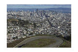 Twin Peaks View of San Francisco, CA 3 (City with Bay and Clouds) Photographic Print by Henri Silberman