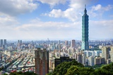 Skyline of Xinyi District in Downtown Taipei, Taiwan. Photographic Print by  SeanPavonePhoto