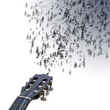 Guitar Isolated on White Plays with Musical Notes Coming out Oh Strings Posters by  Veneratio