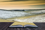 Creative Concept Idea of Winter Landscape Coming out of Pages in Magical Book Posters by  Veneratio