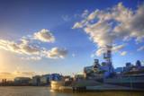 HMS Belfast London River Thames Print by  Veneratio