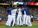 Sep 24, 2014, San Francisco Giants vs Los Angeles Dodgers - Dodgers Celebrate on Field Photographic Print by Jeff Gross