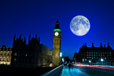 Night Scene in London Showing the Big Ben, a Full Moon and Traffic on Westminster Bridge Photographic Print by  Kamira