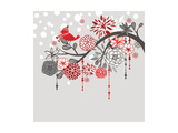 A Winter Branch with a Bird and falling Snow. Red and Grey Colors Art by Alisa Foytik