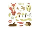 Autumn Forest, Woodland Animals, Flowers and Ribbons Prints by Alisa Foytik