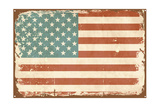 Vintage Style American Flag on the Tin Sign Prints by Alisa Foytik