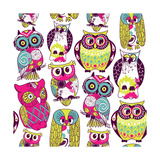 Seamless and Colourful Owl Pattern. Posters by Alisa Foytik