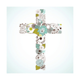 Beautiful Cross Made from Flowers Posters by Alisa Foytik