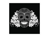 Skull and Roses, Black and White Day of the Dead Card Poster by Alisa Foytik