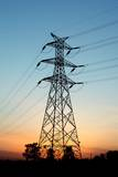 Electricity Pylons at Sunset Photographic Print by Liang Zhang