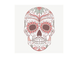 Day of the Dead Colorful Skull with Floral Ornament Prints by Alisa Foytik