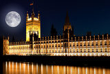 The Houses of Parliament at Night with a Bright Full Moon Photographic Print by  Kamira
