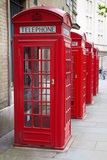 A Group of Typical Red London Phone Cabins Photographic Print by  Kamira