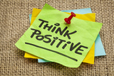 Think Positive - Motivational Reminder - Handwriting on Sticky Note Photographic Print by  PixelsAway