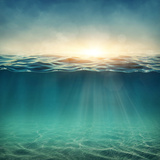 Abstract Underwater Background with Sunbeams Photographic Print by  egal