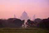 Taj Mahal Viewed from Countryside at Dawn Photographic Print by Adrian Pope