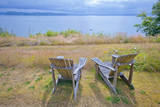 Empty Chairs over Looking the Puget Sound Photographic Print by Mel Curtis