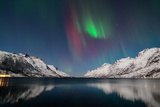 Red Aurora Borealis in Ersfjordbotn Photographic Print by John Hemmingsen