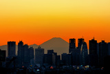 Silhouette of Tokyo's Skyscrapers and Mount Fuji Photographic Print by vladimir zakharov