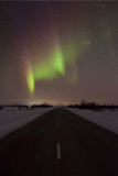 Northern Light in the Sky over Road, Finland, Photographic Print by David Clapp