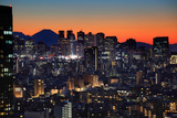 Shinjuku Night with Mt. Fuji Photographic Print by Krzysztof Baranowski