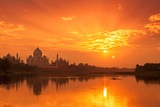 Taj Mahal and Yamuna River at Sunset Photographic Print by Adrian Pope