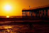 Sunset at Beach, Hermosa Beach, with Jetty in Background. Photographic Print by Christina Lease