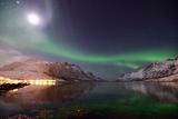 Moon and Aurora Photographic Print by John Hemmingsen