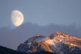 Moonrise over the Mountains, Jasper National Park, Alberta, Canada Photographic Print by Dickson Images