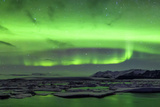 Green Aurora Borealis in Jokulsarlon, Iceland Photographic Print by Xose Casal Photography