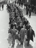 Airforce Cadets Walking in Rows (B&W) Photographic Print by Hulton Archive