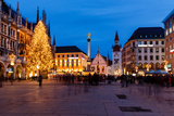 Marienplatz in the Evening, Munich, Bavaria, Germany Prints by  anshar
