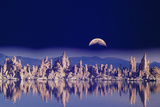 Usa, Ca, Mono Lake, Tufas and Moon (Digital Composite) Photographic Print by Grant Faint