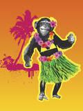 Chimpanzee Hula Dancing Photographic Print by New Vision Technologies Inc