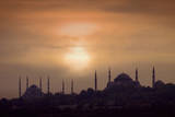 Turkey, Istanbul, Blue Mosque and Hagia Sophia, Sunset Photographic Print by Daryl Benson