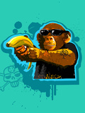 Chimpanzee Holding Banana like Gun Photographic Print by New Vision Technologies Inc