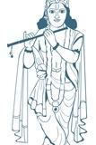 Digital Illustration of Vishnu Playing Flute Photographic Print by Dorling Kindersley