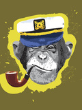 Chimpanzee Wearing Captain's Hat, Smoking Pipe Photographic Print by New Vision Technologies Inc