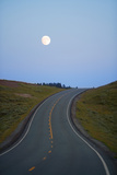 Full Moon Rising above Road, Summer Photographic Print by Philip Nealey