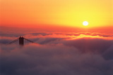 Usa, California, San Francisco, Golden Gate Bridge, Pylon in Fog Photographic Print by Cosmo Condina