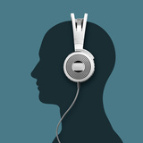 A Headphone and a Silhouette Head Photographic Print by Jorg Greuel