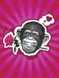 Chimpanzee with Rose in Mouth Photographic Print by New Vision Technologies Inc