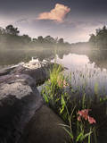 Foggy Sunset beside a Lake Photographic Print by Tyler Gray