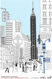 Tourists Walking in Lane amid Skyscrapers Photographic Print by Eastnine Inc.