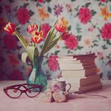 Books and Tulips Photographic Print by Julia Davila-Lampe